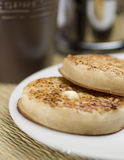 Crumpet breakfast. A breakfast of crumpets and coffee Royalty Free Stock Photo