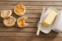 Crumpets and butter Royalty Free Stock Photo