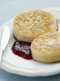 Crumpets with Butter and Jam Royalty Free Stock Image