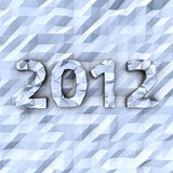 Crumple 2012. Digits 2012 on the crumple white-blue background Stock Photo
