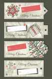 Crumple christmas labels with place for text, vect Royalty Free Stock Photography