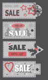Crumple christmas labels with sale offer Royalty Free Stock Images