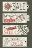 Crumple christmas labels with sale offer, vector Stock Images