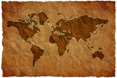 Crumple paper world map Royalty Free Stock Images