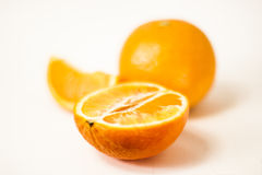 Crumple a tangerine on a white background Stock Photo