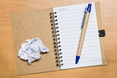 Crumple white paper and pen Royalty Free Stock Images