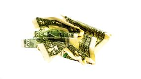 Crumple wrinkled one dollar isolated on white stock image