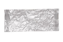 Crumpled aluminum bag isolated on white. Photo of crumpled aluminum bag isolated on a white background royalty free stock photography