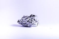 Crumpled Aluminum Tin Foil High Contrast Metal Object Isolated White Background Royalty Free Stock Photo