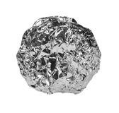 Crumpled ball of aluminum foil isolated na white Stock Photography