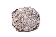 Crumpled ball of aluminum foil Royalty Free Stock Image