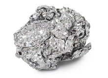Crumpled ball of aluminum foil Royalty Free Stock Images