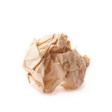 Crumpled ball of brown wrapping paper Royalty Free Stock Images