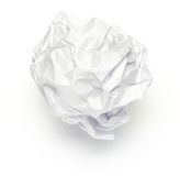 Crumpled Ball of Paper. On White Stock Photography