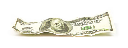 Crumpled banknote of dollar Stock Photography
