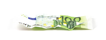 Crumpled banknote of euro Royalty Free Stock Photo