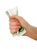 Crumpled banknote in a hand Stock Photography