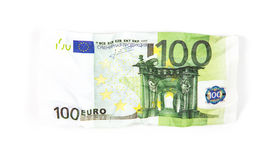Crumpled banknote of hundred euro Stock Photos