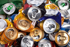 The crumpled  beer cans Stock Images