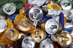 The crumpled  beer cans Royalty Free Stock Image