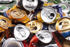 The crumpled  beer cans. Close up in a sunny day Stock Image