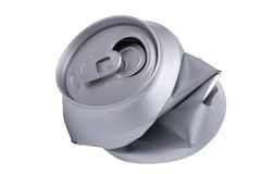 Crumpled beverage can. Object on white - Crumpled beverage can stock images