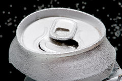 Crumpled beverage can with bubbles macro Royalty Free Stock Images