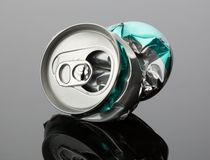 Crumpled beverage can Royalty Free Stock Photography