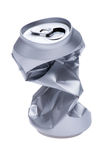 Crumpled beverage can on white Royalty Free Stock Image