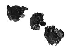 Crumpled black paper ball Royalty Free Stock Images