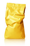 Crumpled blank golden foil bag package isolated on white. Crumpled blank golden foil bag packaging isolated on white background with clipping path Stock Images