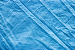 Crumpled blue linen fabric Royalty Free Stock Photography