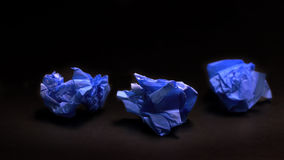 Crumpled blue paper ball Royalty Free Stock Photos
