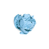Crumpled blue paper ball isolated Stock Photo