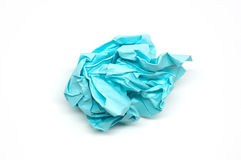Crumpled blue paper ball Royalty Free Stock Images