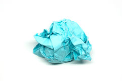 Crumpled blue paper ball Stock Image