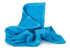 Crumpled blue towel. On white background stock photos