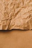Crumpled brown kraft paper texture Stock Photos