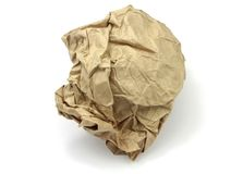 Crumpled brown paper Stock Images
