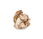 Crumpled brown paper ball isolated over white background Stock Photo