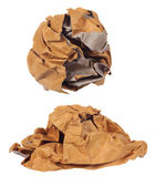 Crumpled brown paper ball isolated Royalty Free Stock Photos