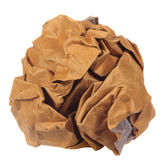 Crumpled brown paper ball isolated Royalty Free Stock Image