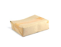 Crumpled brown paper box, damaged in transit royalty free stock photography