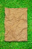 Crumpled brown recycle paper Royalty Free Stock Images