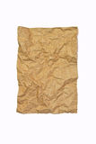 Crumpled brown recycle paper isolated. On white background stock photos
