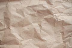 Crumpled brown textured old paper, stock photo
