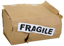 Crumpled cardboard box with inscription Royalty Free Stock Photos