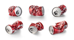 Crumpled Coca Cola cans. Chisinau, Moldova - August, 26, 2016:Crumpled Coca Cola cans. Coca Cola drinks are produced and manufactured by The Coca-Cola Company Stock Images