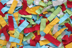 Crumpled colorful pieces of paper royalty free stock images