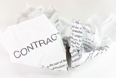 Crumpled contract Royalty Free Stock Photos